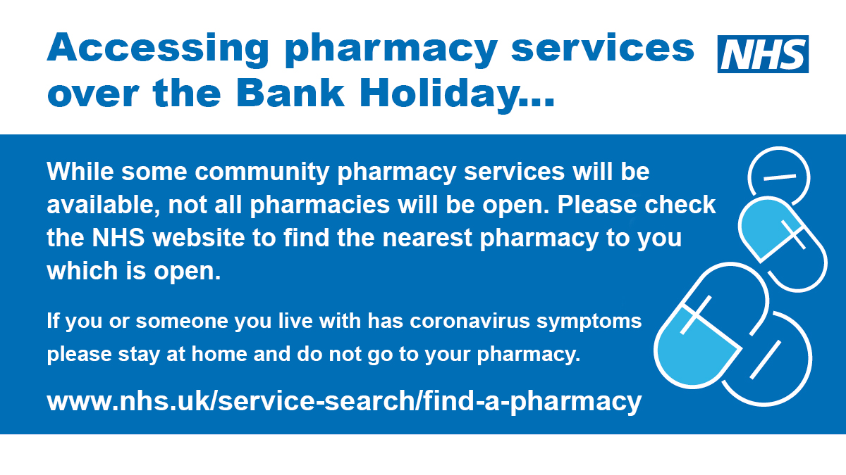 Bank Holiday pharmacies details